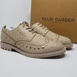 Kelsi Dagger Brooklyn Leather Studded Oxfords 8M